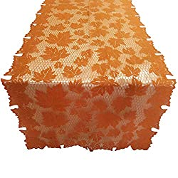 Clearance Sale!UMFun Pumpkin Lace Fireplace Cloth Pumpkin Maple Leaf Fall Spice Thanksgiving Cloth 152x213cm (C)