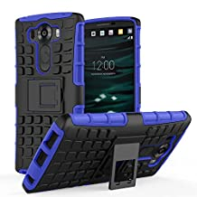 LG V10 Case - MoKo Heavy Duty Rugged Dual Layer Armor with Kickstand Protective Cover for LG V10 5.7 Inch Smartphone 2015 Release, BLUE