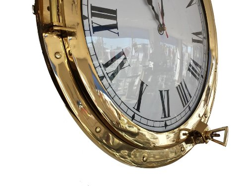 Brass Deluxe Class Porthole Clock 20'' - Port Hole Clock - Brass Port Hole - Nautical Decoration