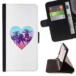 For Samsung Galaxy A5 ( A5000 ) 2014 Version Case , Palms Florida corazón del trullo Blanca- la tarjeta de Crédito Slots PU Funda de cuero Monedero caso cubierta de piel