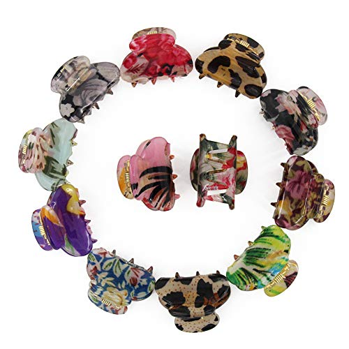 Carede Mini 1.2 inch Plastic No-Slip Grip Jaw Hair Clip,Floral Printed Small Acrylic Hair Claw Clips for Girls and Women,Pack of 12