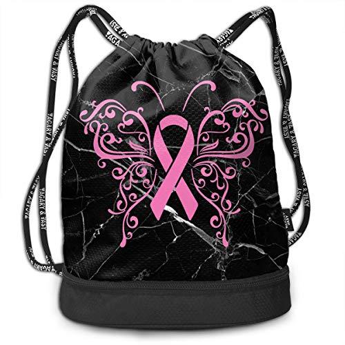 Drawstring Backpack Bag Pink Ribbon Butterfly- Breast Cancer Men & Women Yoga Dance Travel Rucksack Shoulder Bags -