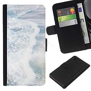Sony Xperia Z4 / Sony Xperia Z4V / E6508 Modelo colorido cuero carpeta tirón caso cubierta piel Holster Funda protección - Sea Pearly White Sun Summer Surf Waves