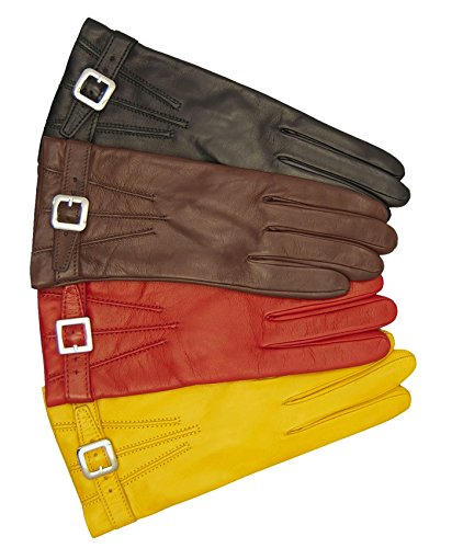 Fratelli Orsini Women's Italian Cashmere Lined Leather Gloves with Buckle Size 8 Color Red