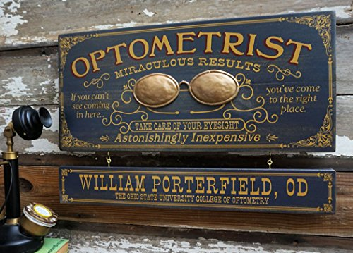 (A Simpler Time Optometrist Profession Wood Sign with Personalized Nameboard)