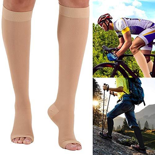 Jinxuny 23-32 mmHg Medical Grade Compression Socks Open Toe Stockings Calf Sleeve Boost Stamina, Circulation & Recovery for Running Nurses Shin Splints Flight Travel & Maternity Pregnancy Varicose Vei ()