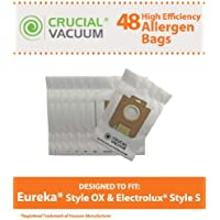 48 Replacements for Electrolux & Eureka S & OX Cloth Bags Fit Harmony Oxygen Vacuums, Compatible With Part # 61230, 61230a, 61230b & 61230c, by Think Crucial