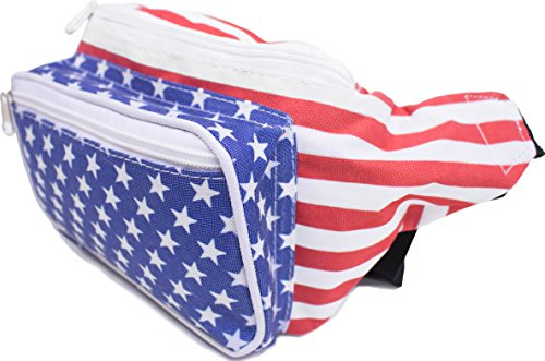 SoJourner Bags USA American Flag Stars and Stripes Fanny Pack (Red, White, Blue) (Bag American Flag)