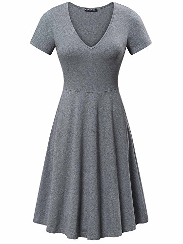 FENSACE Womens V Neck Pockets Simple Casual Swing Dress Large