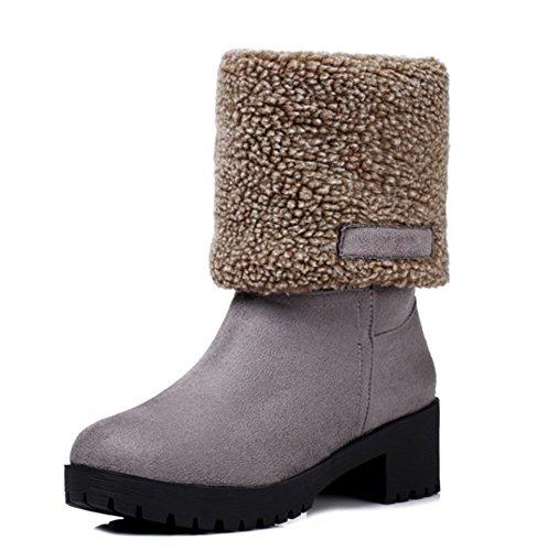 Aisun Womens Warm Comfort Round Toe Platform Low Heels Slip On Winter Snow Ankle Boots Gray 15TySaTPbo