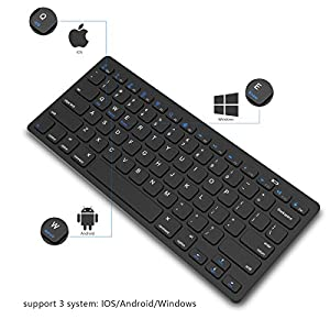 Bluetooth Keyboard, Jelly Comb Universal Wireless Bluetooth Keyboard Ultra Slim for Apple iOS iPad Pro, mini 4, iPhone X/8/7Plus/6, Android Tablets (Galaxy Tab), Windows Mac OS 6.0 & later (Black)