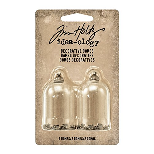 Tim Holtz Idea-ology Miniature Decorative Domes 2/Pack, Clear Glass and Antique Brass (TH93265)