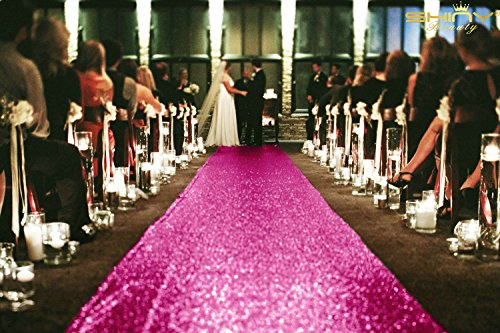 ShinyBeauty 4FTX15FT-Sequin Aisle Runner-Fuchsia Sparkly Carpet Runner for Wedding/Christmas/Thanksgiving Decor by ShinyBeauty