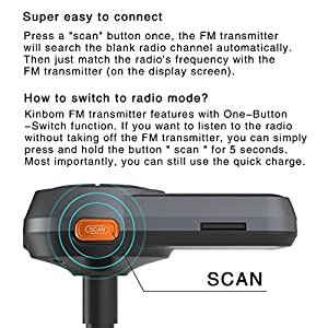 New Bluetooth FM Transmitter, Kinbom Auto-Scan FM Wireless Radio Adapter Receiver with 1.4 Display, Bluetooth 4.2, QC3.0/2.4A Dual Fast USB Charger and SD Card Support Hands-free Calling Car Kit