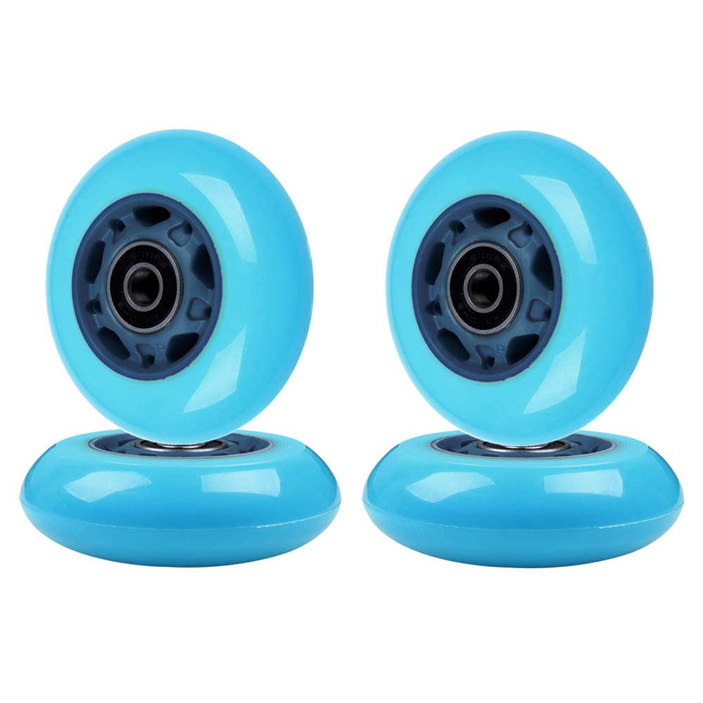 AOWISH Inline Skate Wheels 85A [4-Pack] Beginner Roller Blades Replacement Wheel with Pre-Installed Bearings ABEC-9 [64mm 70mm 72mm 76mm 80mm AVL] (76mm. Green Hub Turquoise Wheel) by AOWISH