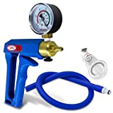 LeLuv Vacuum Pump Maxi Blue Handle with Gauge Uncollapsible Blue Silicone Hose Natural Body Enhancement Clitoris Suction Cups Medium