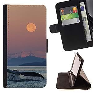 - Queen Pattern FOR Apple Iphone 4 / 4S /La identificaci????n del cr????dito ranuras para tarjetas tir????n de la caja Cartera de cuero cubie - sunset whale nature sea ocean natur