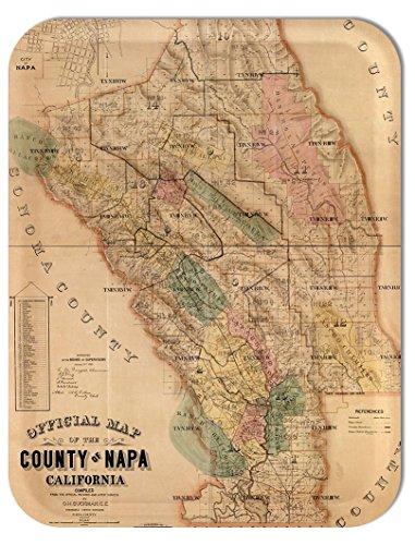 Trays4Us Napa County 1874 Vintage Map Birch Wood