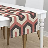 Table Runner - Chevron Zigzag Wide Tall Great Italian European by Chicca Besso - Cotton Sateen Table Runner 16 x 72