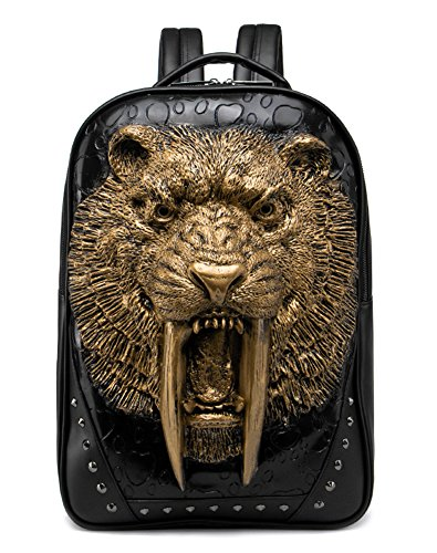 - 3D Print Animal Studded Backpack, PU Leather Cool Backpack Bookbag (Sabertooth-Gold)
