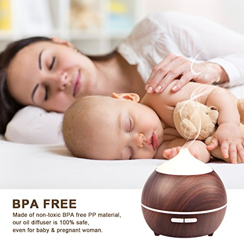 2PACK Essential Oil Diffuser, Iextreme 250ml Wood Grain diffuser With Auto Shut Off, 8 Colorful LED Light, Adjustable Mode Aroma Diffuser For Baby, Yoga, Spa, Home, Office by Iextreme (Image #5)