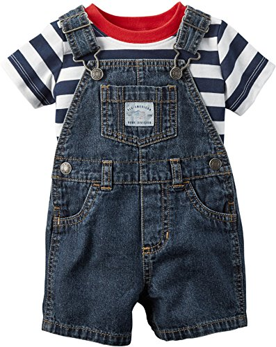 Carter's Baby Boys' 2-Piece Tee and Shortalls Set, Navy, 12 Months