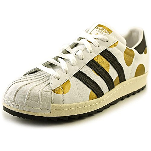 (Jeremy Scott Adidas Men's Originals Superstar 80s Ripple Shoes Size 9 White/Black/Gold)