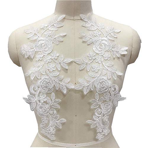 2 Pcs Car Bone Sequin Embroidery Flower Patches Handmade DIY Applique Wedding Dress Headwear Bride Clothing Accessories Lace Patch (White)