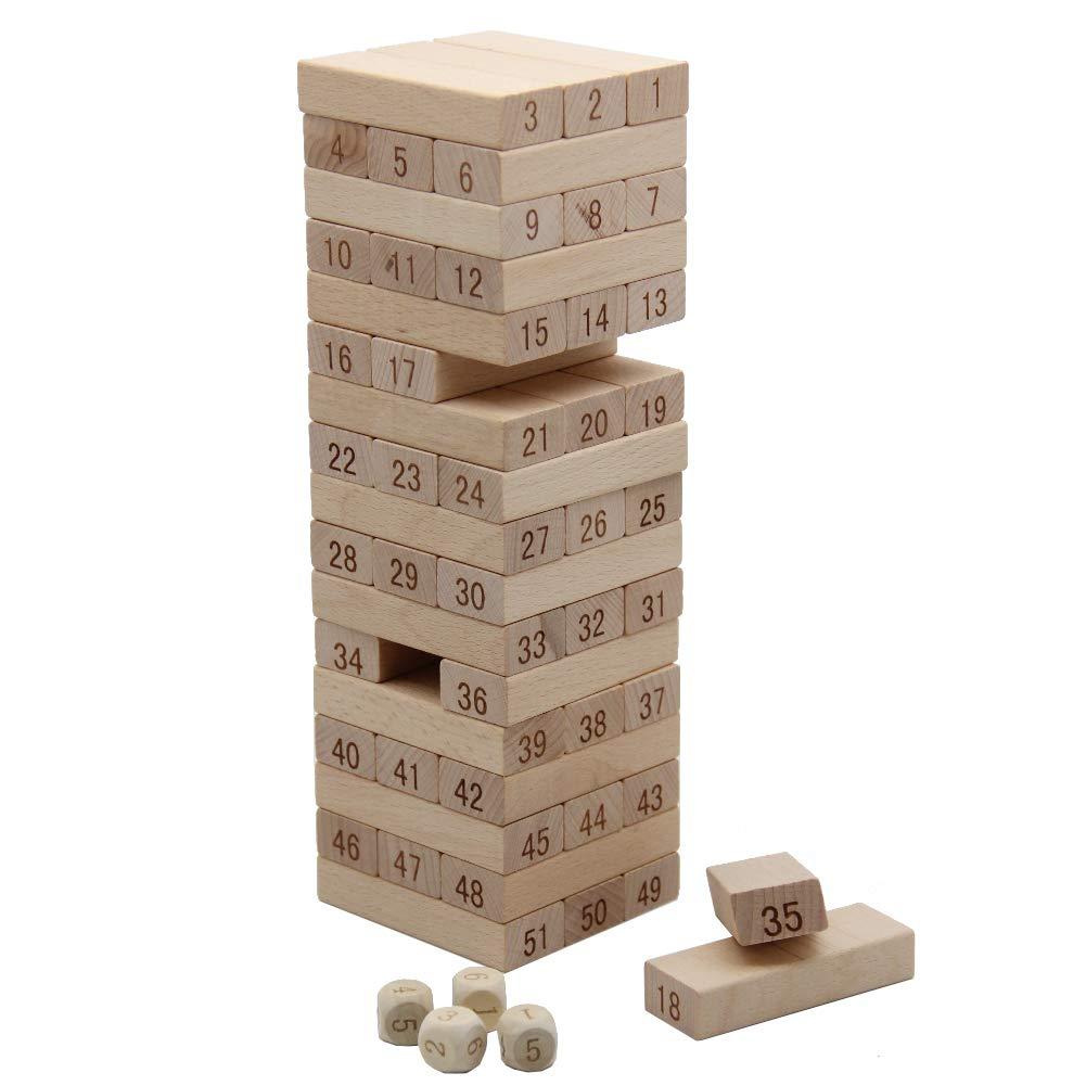 Number Match Playset MorTime 51Pcs Timber Tower Wood Block Stacking Game