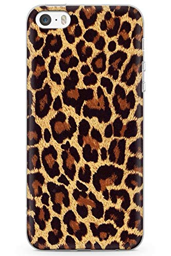 Case Warehouse iPhone 5 Case, iPhone 5s, iPhone SE Gold Leopard Print Phone Case Clear Ultra Thin Lightweight Gel Silicon TPU Protective Cover | Animal Print Cheetah Cat Nederdel - Charger 5s Cheetah Iphone