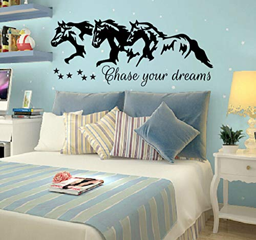 Diuangfoong Chase Your Dreams W Horses and Stars Decal Wall Vinyl Sticker Kids Room Nighttime Wish Barrel Racing Paint Horses Running Nursery Art Gift
