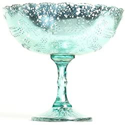 "Koyal Wholesale Compote Bowl Centerpiece Mercury Glass Antique Pedestal Vase, Floral Centerpiece, Wedding, Bridal Shower, Home Décor (8"" x 6.75"", Aqua Blue)"