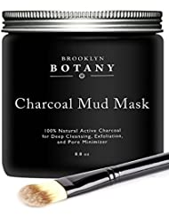 Activated Charcoal Mud Mask 8.8 fl oz - Facial Mask For Deep Cleansing Exfoliation - Best for Shrinking Pores, Fight Acne, Blackheads and Oily Skin - Includes Facial Brush - Brooklyn Botany