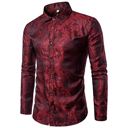 Paisley Embroidery - Cloudstyle Mens Paisley Shirt Long Sleeve Dress Shirt Button Down Casual Slim Fit Red