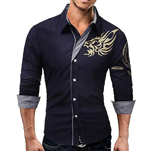 en's Long-Sleeved Dress Shirt Autumn Dragons Print Casual Slim Lapel Male Quality Large Size Top Blouse ()