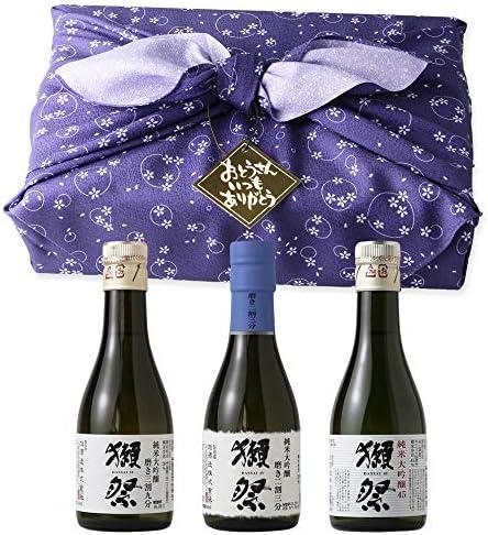 おためしセット 180ml×3本入 ふろしき包み(日本酒/旭酒造/純米大吟醸45/磨き三割九分/磨き二割三分/飲み比べ)父の日ギフト