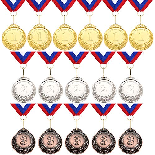 16 Pieces Metal Medals Winner Award Medals Gold Silver Bronze Metal Medals Prize Medals with Neck Ribbon for Kids Sports Award Party Favors, 2 Inch Diameter