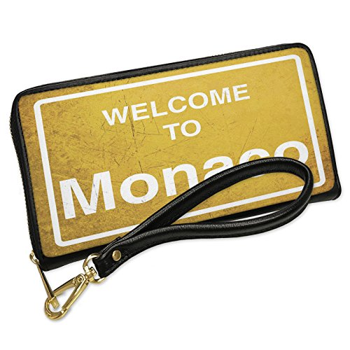 Wallet Clutch Yellow Road Sign Welcome To Monaco with Removable Wristlet Strap Neonblond Monaco Clutch