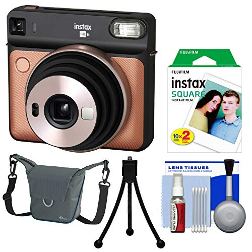 Fujifilm Instax Square SQ6 Instant Film Camera (Blush Gold) with 20 Prints + Case + Tripod + Kit