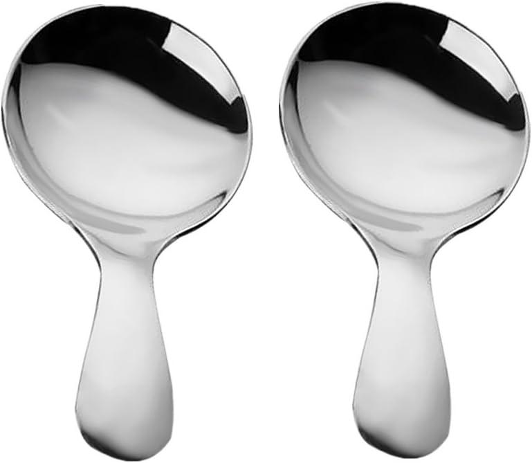 FLAMEER Mini Edelstahl L/öffel Kleine Salz L/öffel Silber Zucker Gew/ürze L/öffel Set 2 St/ück