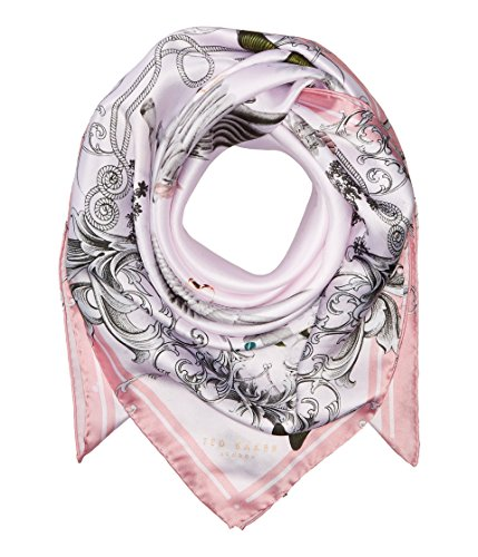 Ted Baker London Women's Enchanted Floral Dream Square Scarf, Pale Pink, One Size by Ted Baker