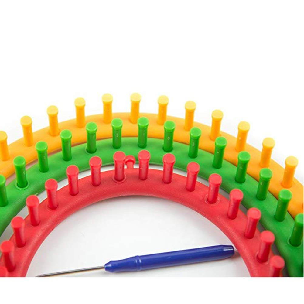 Round Knitting Looms Set Craft Kit Tool with Hook Needle and Pompom Maker