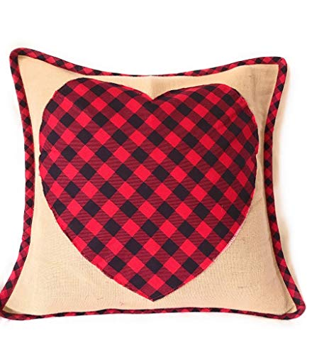 GeetuBerry Handcrafted Rustic Throw Pillow Covers for Sofa Couch Bedroom Outdoor Patio Spring Home Decor | Mothers Day | Country, Farmhouse, Rustic, Easter (Buffalo Plaid Heart, 15 x 15) ()