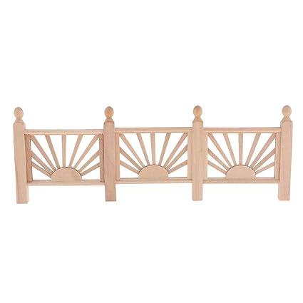 3 pieces 1:12 Scale Dollhouse Miniature Porch Fence