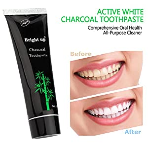 Activated Charcoal Teeth Whitening Toothpaste 3d white,natural organic bamboo charcoal,Destroys Bad Breath Removes Smoke Stains and Coffee Stains,4 oz FROM Bright up … (one pack)