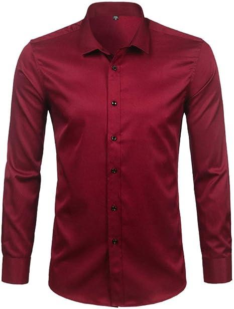 YFSLC-Studio Camisa De Manga Larga Hombre,Rojo Vino Mens De Fibra De Bambú Visten Camisas Slim Fit Larga SleeveCasual Abajo Elásticos Cómodos Formal Camisa Masculina: Amazon.es: Deportes y aire libre