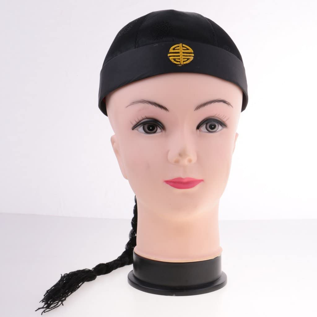 Adult Men Women Chinese Oriental Cap with Ponytail Silk Party Costume Hat