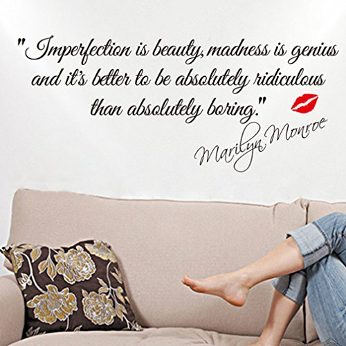 HP95 IMPERFECTION IS BEAUTY-MARILYN MONROE Quotes Art Decor Lettering Wall Art Sticker