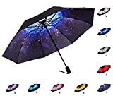 Fidus Inverted Reverse Sun&Rain Car Umbrella Large Windproof Travel UV Umbrella for Women Men - Auto Open Close(Starry Sky)