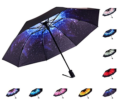 Fidus Inverted Reverse Sun&Rain Car Umbrella Large Windproof Travel UV Umbrella for Women Men - Auto Open Close(Starry Sky) by Fidus